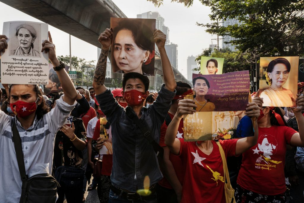 Protesters demanding the release of their democratic leader Suu Kyi
