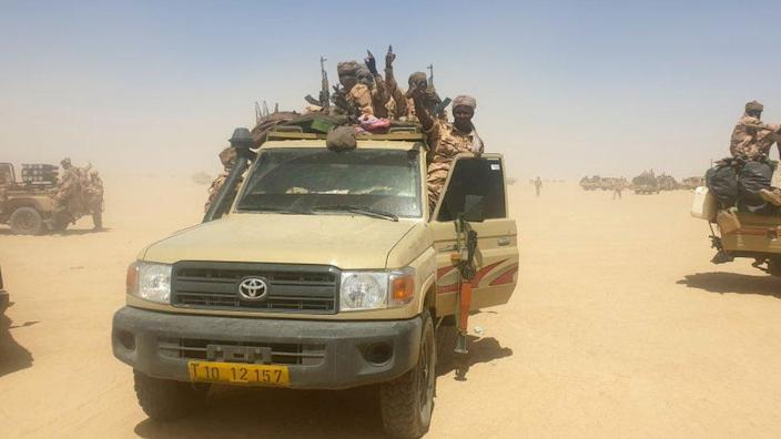 Chadian army members seen during an operation against rebels in Ziguey, Kanem region, Chad - 19 April 2021