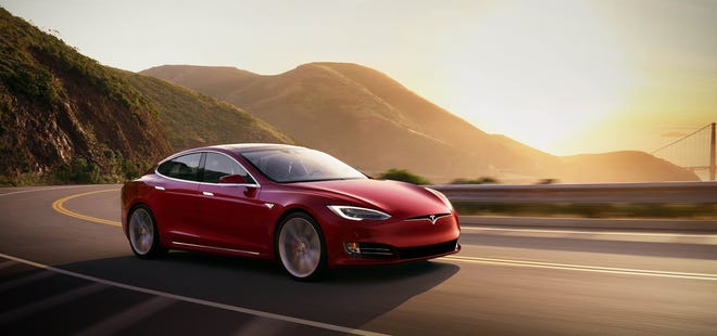A Tesla Model S on the road.