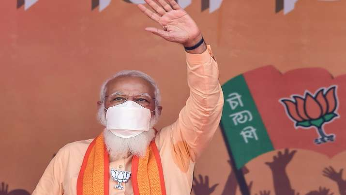 Prime Minister Narendra Modi gestures during an election
