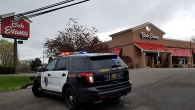 A waitress was shot multiple times Friday morning inside this Bob Evans restaurant and police are searching for the gunman.