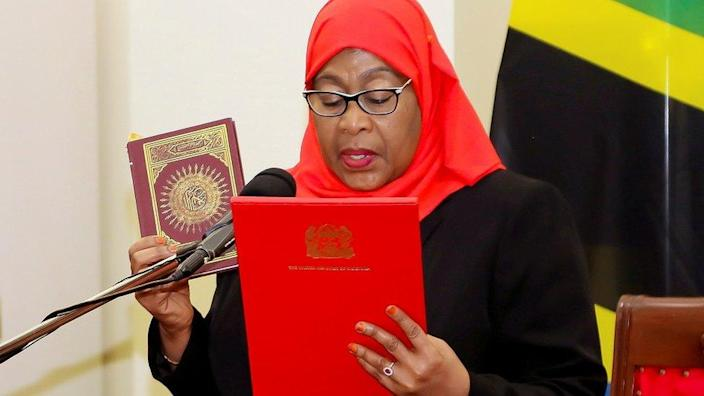 """Tanzania""""s new President Samia Suluhu Hassan takes oath of office following the death of her predecessor John Pombe Magufuli at State House in Dar es Salaam, Tanzania March 19, 2021"""