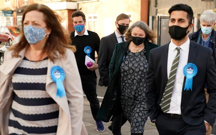 Conservative's Jill Mortimer (third from right) arrives at Mill House Leisure Centre in Hartlepool - PA
