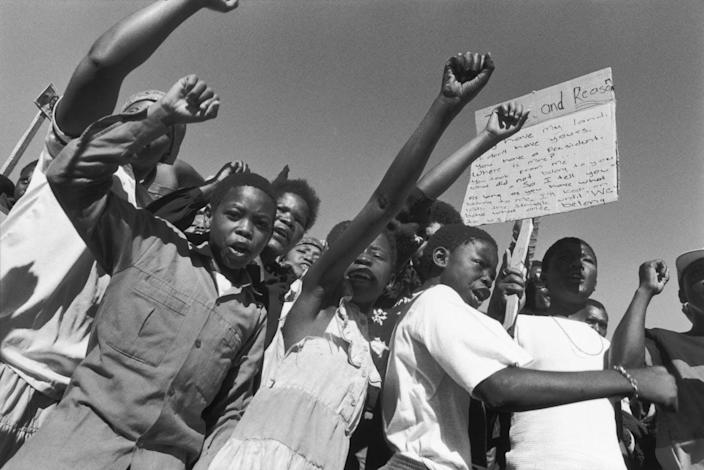 An anti-apartheid demonstration in South Africa.