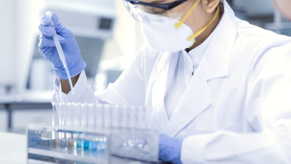 A Moderna scientist working on the company's COVID-19 vaccine.