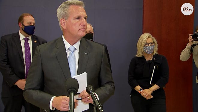 Rep. Liz Cheney and House Minority Leader Kevin McCarthy disagreed when asked if Trump should speak at the Conservative Political Action Conference.
