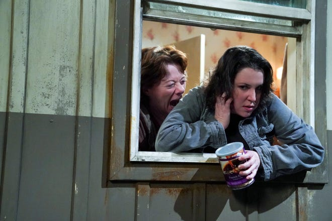 """Rondi Reed, left, and Melanie Lynskey, familiar faces from earlier Chuck Lorre comedies, play a feuding mother-daughter duo with addiction issues in the series finale of CBS' """"Mom."""""""