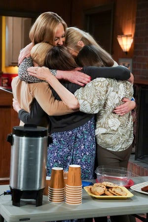 """The """"Mom"""" friends exchange a very fitting hug in the May 13 series finale of the beloved CBS comedy."""