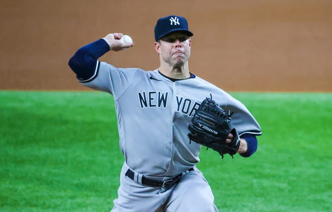 In his first season with the Yankees, two-time AL Cy Young award winner tossed a no-hitter against the Rangers.