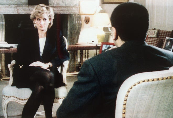 """Princess Diana is pictured being interviewed interviewed by the BBC's Martin Bashir in the current affairs program """"Panorama"""" on Nov. 20, 1995. She discussed with apparent candor her life and problems with her husband, Prince Charles, the royal family and the press."""