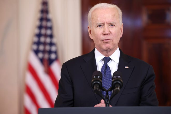 WASHINGTON, DC - MAY 20: U.S. President Joe Biden delivers remarks on the conflict in the Middle East from Cross- Hall of the White House on May 20, 2021 in Washington, DC. Israel and Hamas announced that they would agree to a cease-fire, which will take into effect on Friday, following days of fighting that claimed more than 200 lives.