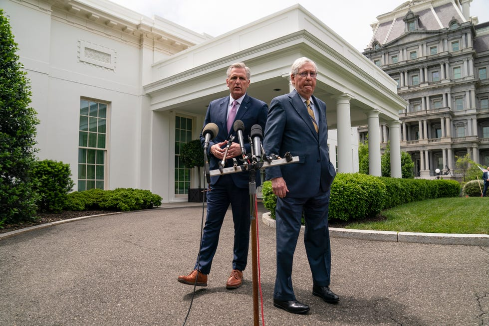 House Minority Leader Kevin McCarthy, R-Calif., left, and Senate Minority Leader Mitch McConnell, R-Ky., head opposition to President Joe Biden's big spending plans.
