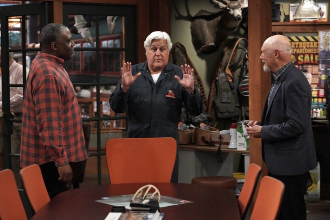 """Mike Baxter's friends Chuck (Jonathan Adams), left, Joe (Jay Leno) and Ed (Hector Elizondo) chat in the Outdoor Man office on Fox's """"Last Man Standing."""""""
