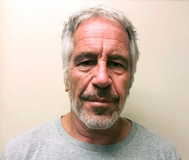 """FILE - This March 28, 2017, file photo, provided by the New York State Sex Offender Registry, shows Jeffrey Epstein. Dr. Michael Baden, a pathologist hired by Jeffrey Epstein's brother, says he believes the financier's death at a New York City jail was a murder, not suicide. Baden told Fox News on Tuesday, Oct. 29, 2019, that some injuries found on the 66-year-old Epstein's body """"are extremely unusual in suicidal hangings"""" and more consistent with """"homicidal strangulation."""" (New York State Sex Offender Registry via AP, File)"""
