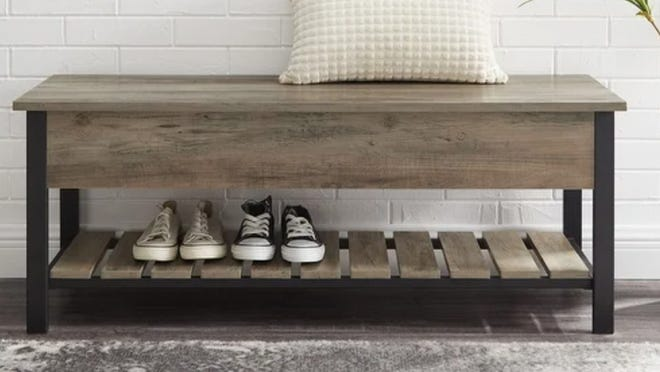 Store your kicks in this charming entryway storage bench.