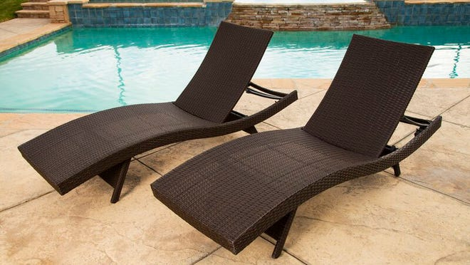 Gold Flamingo's chaise lounge set is one of many outdoor furniture pieces on sale for more than 60% off.