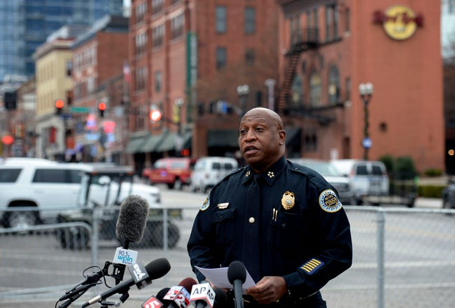 Metro Nashville Police Chief John Drake speaks about the department's handling of the 2019 bomb complaint that involved Anthony Quinn Warner during a press conference on December 30, 2020 in Nashville, Tenn.