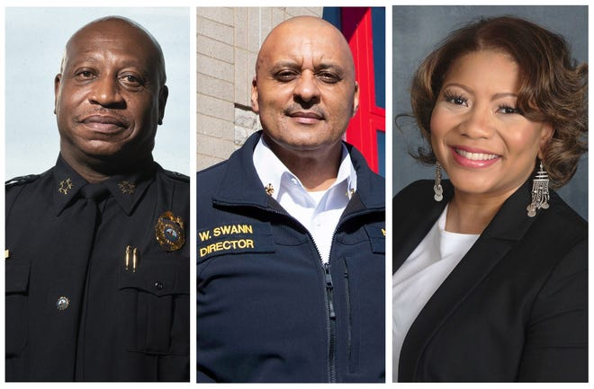 Nashville Public Service Pioneers: Left to right, Metro Police Chief John Drake, Metro Fire Chief William Swann and Metro Schools Director Dr. Adrienne Battle. The year 2020 is the first time all three positions were held-- at the same time -- by Black residents.