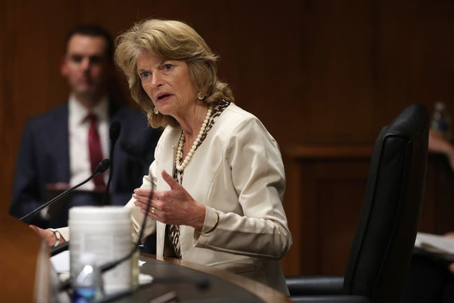Sen. Lisa Murkowski, R-Alaska, speaks May 26 during a hearing before the Subcommittee on Commerce, Justice, Science, and Related Agencies of Senate Appropriations Committee at Dirksen Senate Office in Washington, D.C.