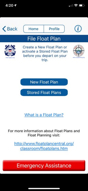 The Coast Guard's app lets you file a float plan detailing where you're headed, what kind of boat you're on and whom to contact if you don't come back on time.