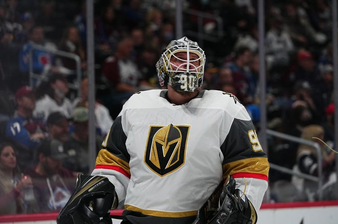 Golden Knights goaltender Robin Lehner looks on after giving up a goal to the Avalanche during the first period of Game 1.