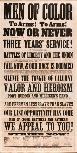 """""""Men of Color"""" Recruitment Broadside, Frederick Douglass, et al., 1863, Printing ink on rag paper, H: 95 x W: 49 x D: 3 in.  Studio photograph by NASM Photographer Eric Long, February 26, 2013, at 3400 Pennsy Drive, Washington, DC.  Credit: Collection of the Smithsonian National Museum of African American History and Culture (2012.133)"""
