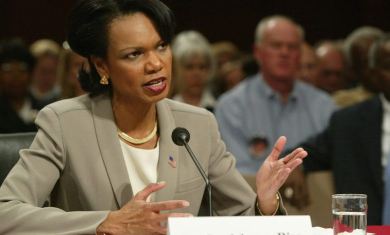 National Security Adviser Condoleezza Rice testifies at a 9/11 Commission hearing on April 8, 2004, in Washington, DC.