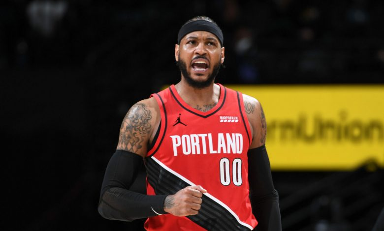 When Carmelo Anthony came in for C.J. McCollum with 4:51 left in the first quarter of Portland's 123-109 triumph over Denver in Game 1