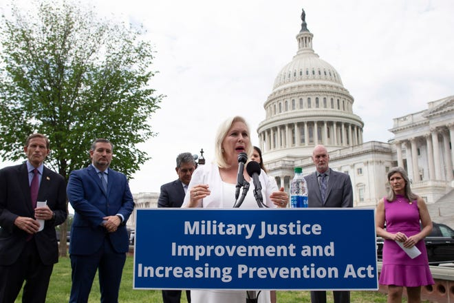 Sen. Kirsten Gillibrand, D-N.Y., and fellow lawmakers on April 29, 2021, introduce legislation to address sexual assaults in the military.