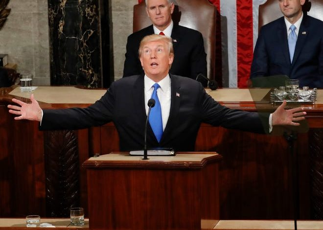 President Donald Trump addresses a joint session of Congress on Capitol Hill in Washington, as Vice President Mike Pence and House Speaker Paul Ryan of Wis., look on, Tuesday, Jan. 30, 2018.