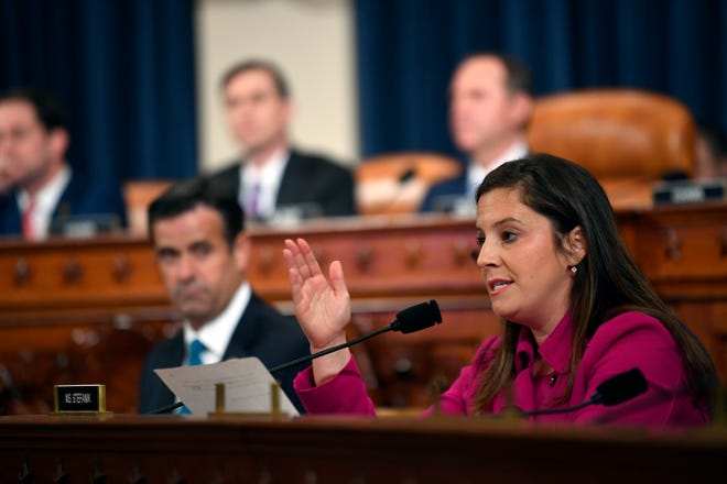 Elise Stefanik, R-N.Y., questions former Ukraine ambassador Marie Yovanovitch during a hearing before the Permanent Select Committee on Intelligence on November 15, 2019.