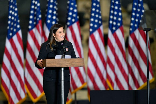 Rep. Elise Stefanik, R-N.Y., introduces Vice President Mike Pence and second lady Karen Pence to speak to Army 10th Mountain Division soldiers, many of whom recently returned from Afghanistan, in Fort Drum, N.Y., Jan. 17, 2021.