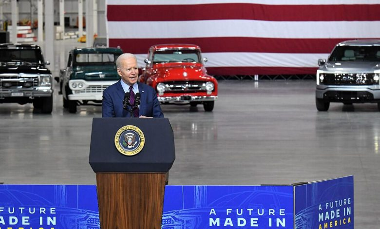 Ford F-150 Lightning sneaks into view during Biden visit to Blue Oval