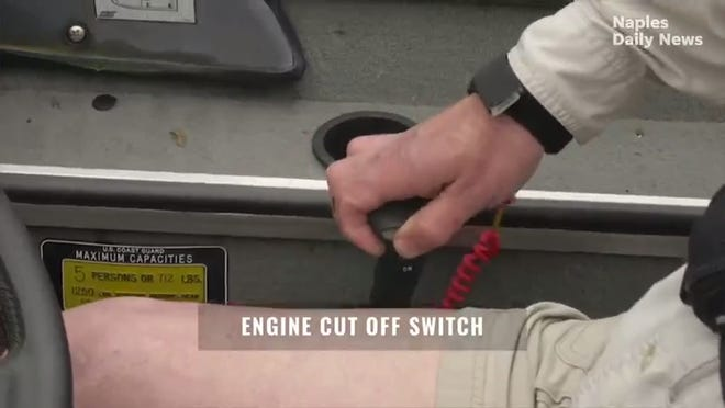 Newer boats often come with an engine cut-off switch (an onboard safety device that is connected to the boat's captain, usually, by a coiled bracelet). Should the driver fall out of the boat, the cut-off switch will immediately stop the boat's engine.