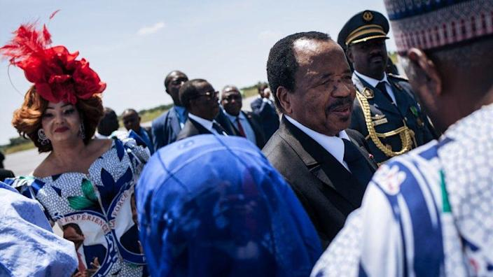 Cameroon's President Paul Biya and his wife, Chantal Biya, are welcomed at Maroua airport, in the Far North Region of Cameroon, ahead of an electoral meeting, on September 29, 2018.