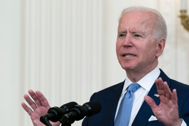 President Joe Biden speaks during a ceremony to present the Medal of Honor to U.S. Army Col. Ralph Puckett in the East Room of the White House, Friday, May 21, 2021, in Washington.
