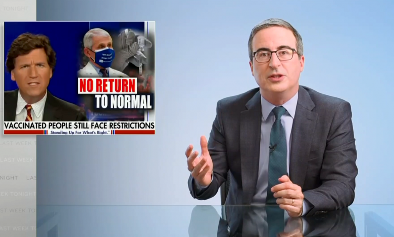 John Oliver lambastes 'fear baboon' Tucker Carlson for 'spreading bulls**t' about COVID vaccines