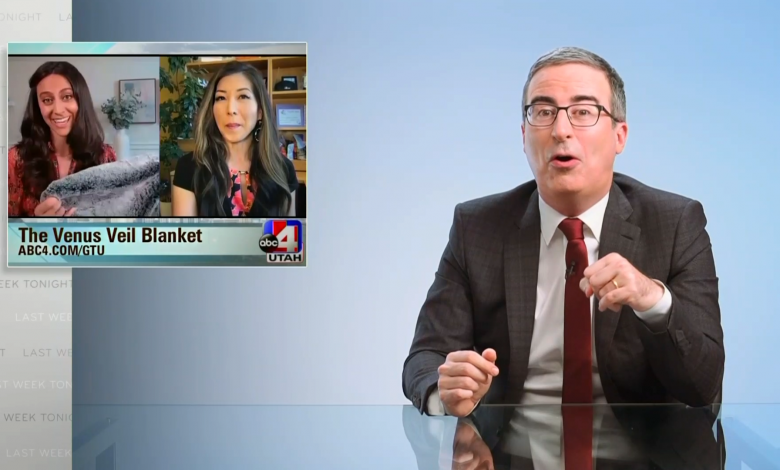 John Oliver tricks local news stations into promoting fake sexual enhancement blanket