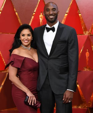 Kobe Bryant and Vanessa Laine Bryant arrive for the 90th Annual Academy Awards in Hollywood on March 4, 2018.