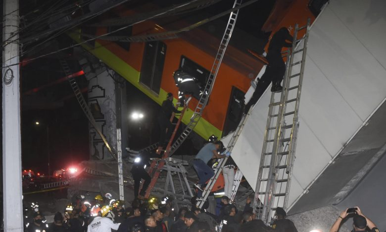 Mexico City metro overpass collapses onto road; 13 dead