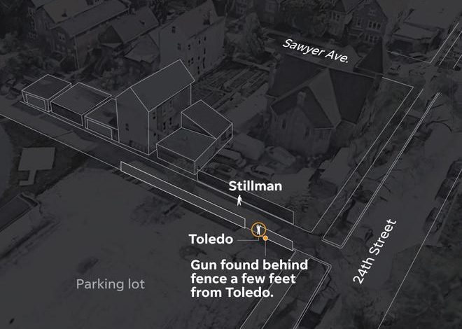 An illustrated view looking northeast at the spot where 13-year-old Adam Toledo was shot and killed by Chicago Police on March 29.