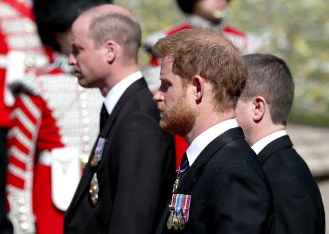 Prince William and Prince Harry follow the coffin during the funeral procession of their grandfather, Prince Philip, Duke of Edinburgh, at Windsor Castle on April 17, 2021.