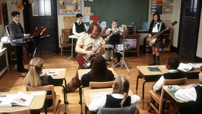 """Kevin Clark, second from right, appeared alongside Jack Black, center,in 2003's """"School of Rock"""" as student drummer Freddy Jones. It's his only acting credit listed on IMdB."""