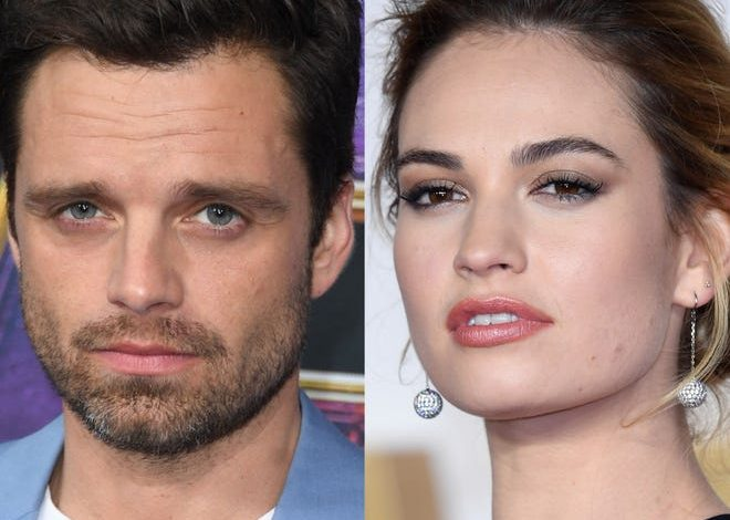"""Sebastian Stan's and Lily James' resemblance to Pamela Anderson and Tommy Lee is uncanny in Hulu's """"Pam and Tommy."""""""