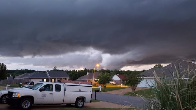 A tornado passes through Rankin County, Mississippi, Sunday, May 2, 2021, near the Whitfield-Mississippi 468 area.