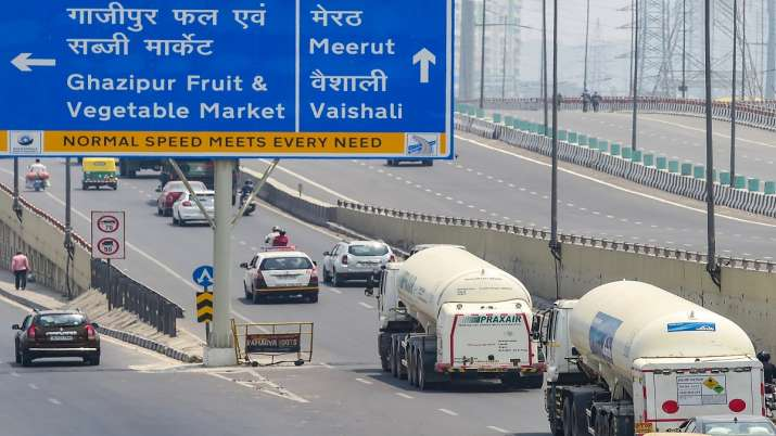 Tankers carry medical oxygen gas for COVID-19 patients, at