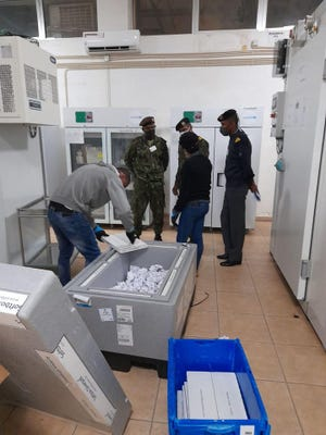 COVAX-supported COVID-19 vaccines arriving in Cabo Verde in March 2021.