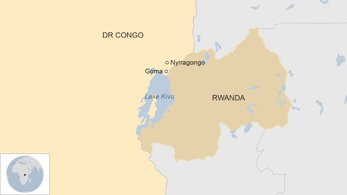 A Map showing where Lake Kivu is in DR Congo