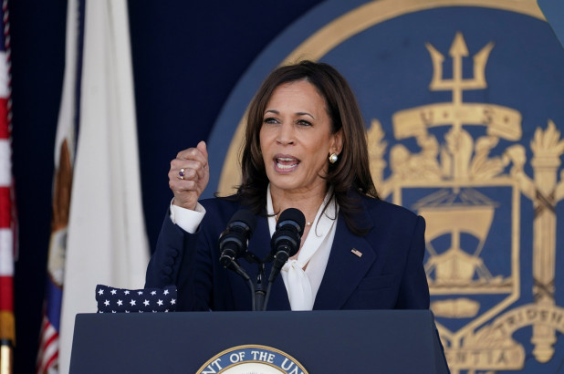 """Vice President Kamala Harris paid a more appropriate tribute to America's military on Sunday, a day after she drew backlash for asking her fellow citizens to """"enjoy the long weekend."""
