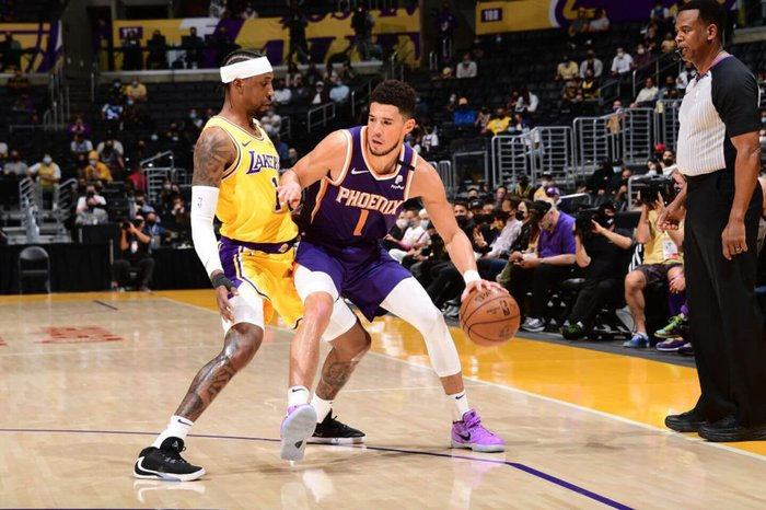 The Lakers announced on Friday that guard Kentavious Caldwell-Pope is day-to-day with a slight left knee contusion as the club prepares for Game 4 of Round 1 of the NBA playoffs.